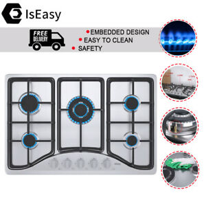 """New ListingIsEasy 30"""" Gas Cooktop 5 Burners Built-in Stove Stainless Steel Safety Cooker"""