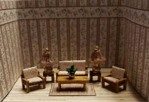 Dollhouse Miniature 1:144 Scale Living Room FULLY ASSEMBLED w/ RUG, LAMPS /PLANT