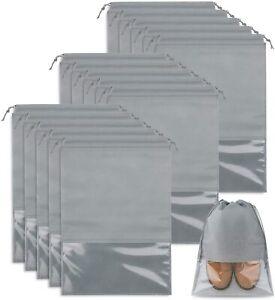 15 Stk Schuhbeutel Transparente Schuhtasche Set, Schuhsack mit Fenster Hellgrau