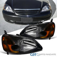 Fit Honda 01-03 Civic 2/4Dr Coupe Sedan Black Headlights Turn Signal Lamps Pair