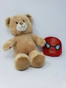 "2016 Build a Bear Teddy Bear Lil Cub + Spiderman Mask 15"" Stuffed Plush Tan BABW"