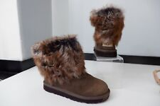 Ugg Boots Brown Leather Boots Size Uk 3 Sheepskin Lined & Trim VGC