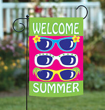 Toland Welcome Summer 12.5 x 18 Colorful Sunglasses Shades Garden Flag