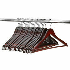 Mahogany Durable Wood Suit Hangers Non Slip Bar - Pack of 48
