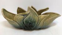 Vintage Hull Pottery Planter Leaves Berries Gold Blue-Green Excellent MCM