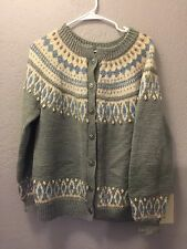 Dale Of Norway Womens 44 Large Wool Gray Cream Fair Isle Nordic Cardigan Sweater