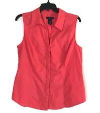 Women's Madison Studio Salmon Sleeveless Hidden Button Up Shirt Size 14