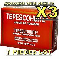 3 TEPEZCOHUITE NATURE HARD SOAP BLEMISH ACNE SCAR PIMPLES EXFOLIANT TEPESCOHUITE