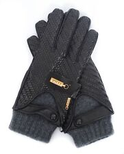 NWT ZILLI France Black Leather + Removable Cashmere Lining Driving Gloves 10 XL
