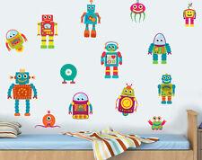 Childrens Robots - Pack of 14 Wall Art Vinyl Stickers Boys Girls Peel & Stick