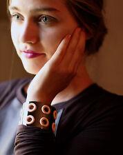 Marc Jacobs Women's Metal EYELET PEEPHOLE WIDE GUNMETAL PINK Cuff Bracelet