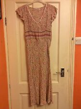 Ladies' mid-length summery dress, Amaranto, size 10, pink & green patterned.