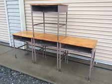 5 Same Vintage Childs Student Wood / Metal School Desks - Very Good