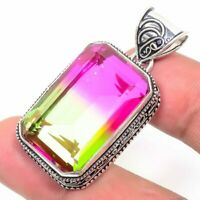 "Bi-Color Tourmaline Handmade Ethnic Style Jewelry Pendant 1.97"" VED7236"
