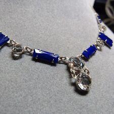 Vintage DECO Sterling Silver CZECHOSLOVAKIA Czech Blue Faceted Glass Necklace