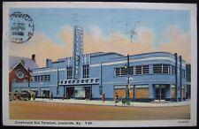 Louisville, KY Greyhound Bus Terminal Linen Postcard 1941 Kentucky Postmark