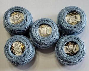 *5* Balls DMC Pearl Cotton (10 gram each) Size 8 Color #932 Light Grey Blue