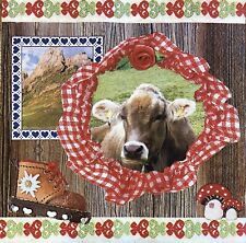 2 single paper napkins for decoupage crafts collection Mountain Animals Cow