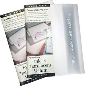 """2 PACKS  Strathmore 59-803 Translucent Vellum Inkjet Paper, 8.5""""x11"""", 40 Sheets"""