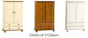 Truro Small 2 Door Combination Wardrobe with 2 Drawers - Pine, White or Cream