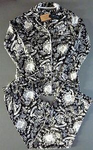 Harry Potter Damen Pyjama XS-XL Satin Schlafanzug Langarm Hogwarts Marauders Map