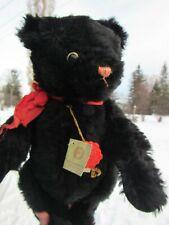 "VINTAGE TEDDY BEAR BLACK FUDDO 15"" RARE EYES MOHAIR W TAGS GERMAN HERMANN TOY"