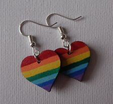 Rainbow Heart Earrings Wooden Wood Handmade Festival LGBTQA Pride Vegan