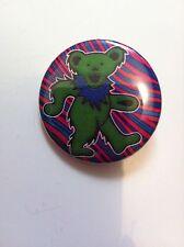 GRATEFUL DEAD 1.5-in BADGE Green Bear Button Pin NEW OFFICIAL MERCHANDISE