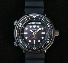 Latest NEW Seiko Men's Solar Arnie Black Gold Dial Silicone Band Watch SNJ028P1