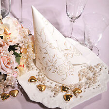 50 Airlaid Servietten Creme Gold Stoffoptik Stoffähnlich Hochzeit Wedding Ringe