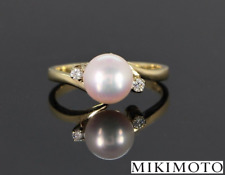 Mikimoto 18K Yellow Gold 8mm Akoya Pearl Round Diamond Ring Band Sz 7