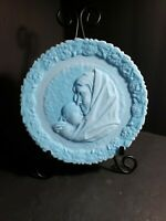 Vintage Fenton 1971 Mothers Day Plate Madonna With The Sleeping Child Blue Satin