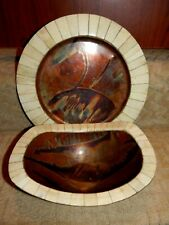 Vtg Hand Crafted Copper Tray Charger & Bowl Set Inlaid Bone Arts & Crafts Mcm