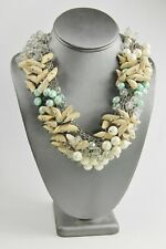 """21"""" STATEMENT RUNWAY NECKLACE WOOD BEADS IMITATION PEARL PLASTIC CRYSTAL CHAIN"""