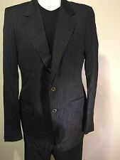 Yves Saint Laurent Men's Pinstripe Black Suit 52R EU W34.5 L32 Made In Italy