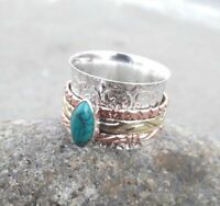 Turquoise Solid 925 Sterling Silver Spinner Ring Meditation Statement Ring Sr230