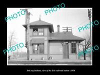 OLD LARGE HISTORIC PHOTO OF DELONG INDIANA, ERIE RAILROAD STATION c1910 1