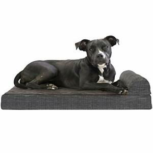 Furhaven Pet Dog Bed - Deluxe Orthopedic Quilted Fleece and Print Suede Chais...