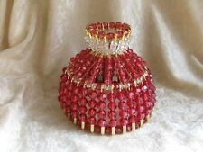 BEADED SHADE FOR WINDOW TABLE NIGHT LIGHT ELECTRIC CANDLE  CRANBERRY WINE