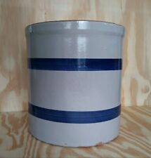 Antique Gray Crock W/Blue Rings-Red Clay Salt Glazed