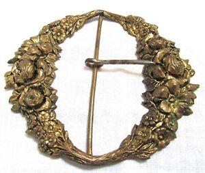 Antique Victorian Etched Brass Exquisite Belt Buckle MS4