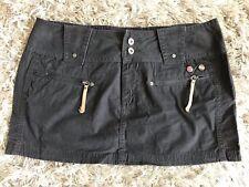 Diesel Original VTG VGC Dark Grey Mini Skirt Badges Low Slung Festival Moss 30 M