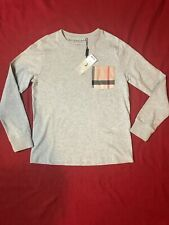 Burberry Children Youth Boy Check Pock Patch Long Sleeve Tee Sz 12 Y/152 Cm NWT