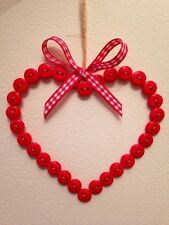 Shabby Chic Handmade pulsante da appendere cuore Rosso Papavero REGALO DI NATALE A CASA MAMMA