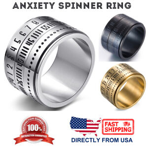 Men's Stainless Steel 14mm Wide Numbers Anxiety Recovery Spinner Ring