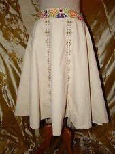 Anthropologie Lithe Creme Velvet Floral Embroidered Skirt-6