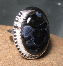 Sterling silver 925 cabochon Pietersite ring UK O½-¾/US 7.75. Gift bag.