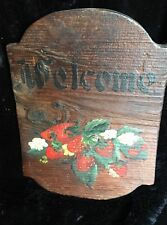 """Mid-Century """"Welcome"""" Sign Hand Painted on Reclaimed Wood - Strawberry/Floral"""