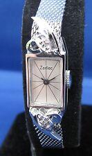 Vintage Zodiac 10k White Gold RGP & Diamonds Elegant Ladies Watch 17J 1970 Swiss