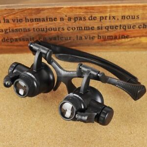 10X 15X 20X 25X LED Double Eye Jeweler Watch Repair Magnifier Glasses Loupe Lens